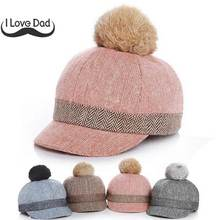 New Thick Velvet Autumn Winter Baby Hat Child Warm Ear Caps Faux Rabbit Fur Pompom Ball Baseball Cap For Boys Girls(China)