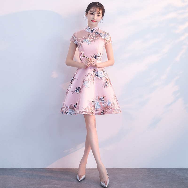 Pink Short Slim Cheongsam Dress Fashion Women Traditional Chinese Wedding Gown Qipao Embroidery Oriental Collars China Bride