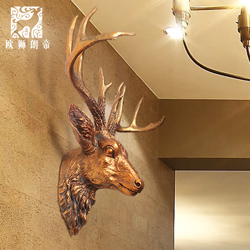 head Arts Crafts Creative wall decoration wall mural on the wall of American simulation deer head ornaments resin bar ornaments(China)