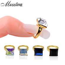 2015 New Arrive 5pcs Gold Nail Art Rings Glitter Square Strass Rhinestones Alloy Clear AB Charm Nail Decorations