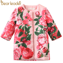 Bear Leader Girls Outerwear&Coats 2017 Spring Kids Jackets Rose Floral Pattern Design for Kids Coats Children Outerwear 3-8Year(China)