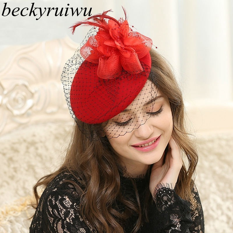 Bridal Wedding Fascinator Hair Pillbox Hat Women 100% Wool Felt Beret Cap Lady Cocktail Party Wedding Church Fedora Top Hat(China)