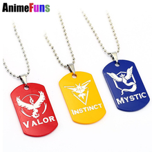 New Pokemon Go Dog Tag Necklace Game Anime Metal Team Valor Mystic Instinct Logo Bead Chain for Women and Men necklace