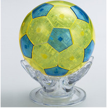 New Design DIY Football Soccer Ball Model 3D Crystal Puzzle Jigsaw,Blue Yellow Novelty Puzzles for Children Free Shipping