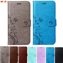 LELOZI Fashion Butterfly Flower Design Flip PU Leather Wallet Case Phone Soft Bags Cover for iphone 5S 5 SE 5G(China)