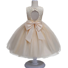 New Kids baby lace princess dress for girl formally elegant birthday party dress Big bow tutu princes dress Baby girls clothes(China)