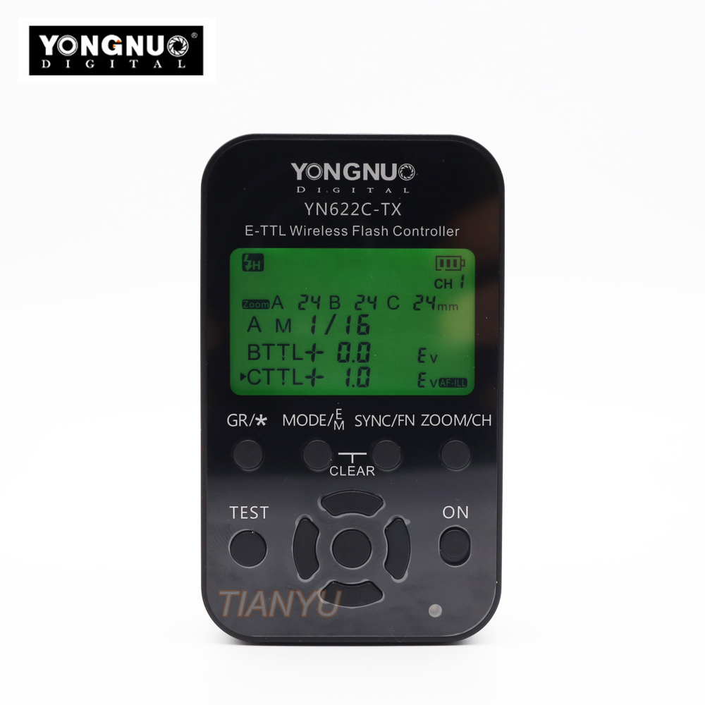 Newest Yongnuo YN-622C-TX YN622C-TX LCD Wireless e-TTL Flash Controller 1/8000s Trigger Transmitter for Canon Cameras<br>