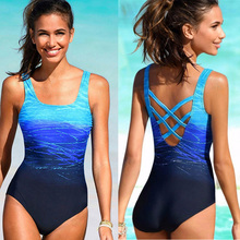 Buy Swimwear Women One Piece Bathing Suit Sexy Blue Swimsuit Monokini Plus Size Crisscross Sport Swim Suit Female Swimming Beachwear