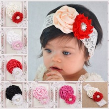 Newborn Lace Band Flower Headband Newborn Lace Wrap Hair Elastic bands Flower Headwear Hair Accessories(China)