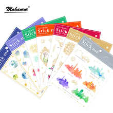 1pcs Cute Creative Golden Planet Fireworks Art Flakes Transparent Decorative Diary Gifts PVC Stickers School Office Supplies(China)