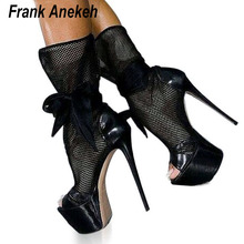 New Fashion Black Mesh Cutouts Sandal Boots Sexy Open Toe Platform High Heel Boots Black Butterfly Knot Club Wear Shoes 999-21#