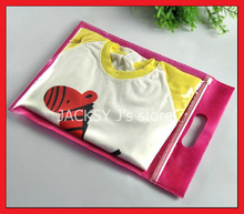 50PCS Ziplock Non woven Tote Bags with handle Reusable for Scarf Kids Clothing Retail Packaing 25*30cm + 5cm(China)