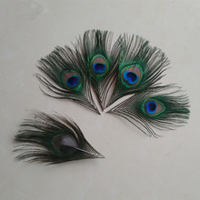 2016 true peacock feather trimmed peacock eye sewing wedding christmas decorations 12-16cm 50 / bag(China)