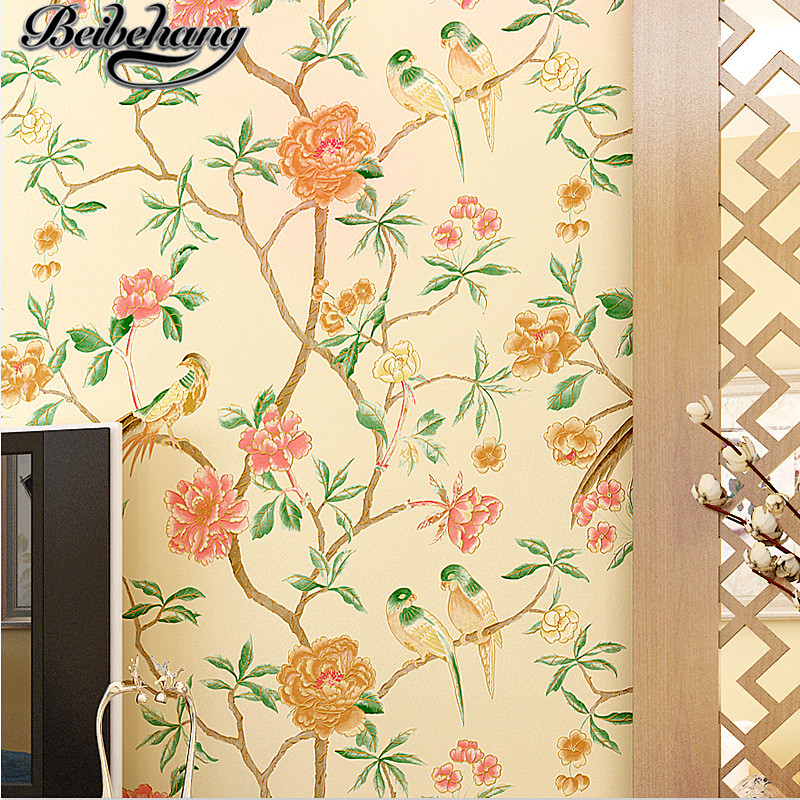 beibehang Classic Chinese hand-painted flowers and birds non-woven wallpaper bedroom living room study full of wallpaper<br>