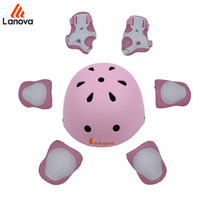 LANOVA 7pcs/Set Protective gear Set Kids Knee Pads Elbow Pads Wrist Protector roller for Scooter Cycling Helmet Roller Skating