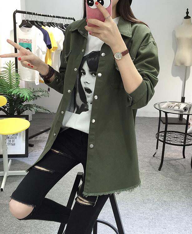2018 Spring Autumn New Long Section Lapel Tassel Denim Jackets Women Loose Casual Long Sleeve Female\'S Thin Basic Jacket Coats (31)