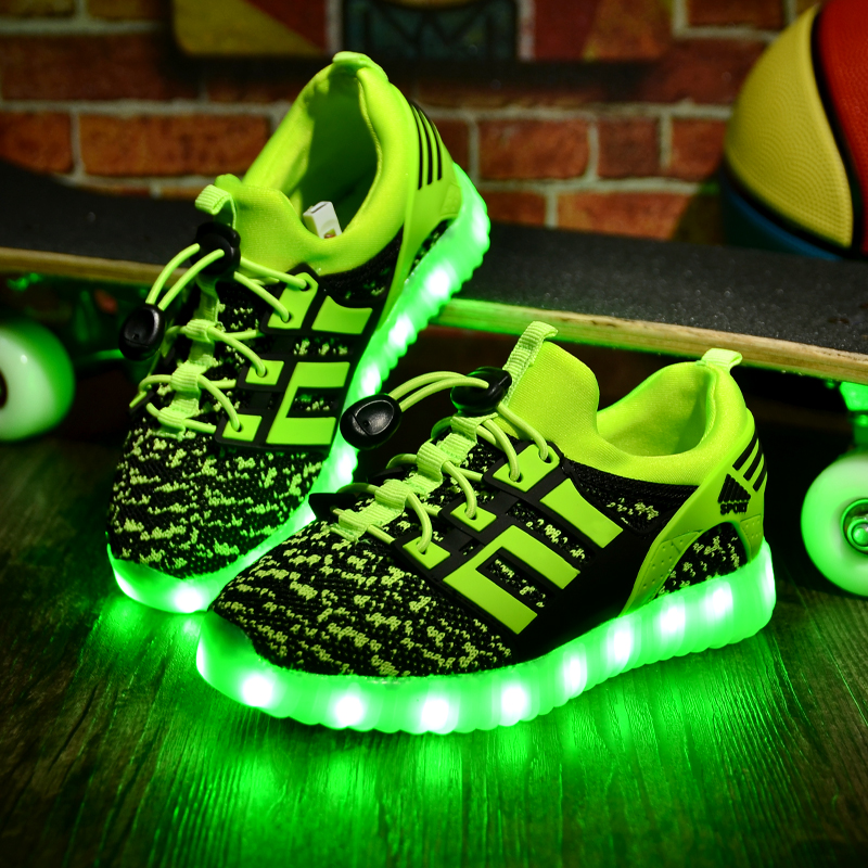 Kids Sports Shoes Boys Running Shoes High Quality Zapatos Ninas Light Up Led Shoes Luminous Sneaker for Girls Krasovki Fly Weave<br>