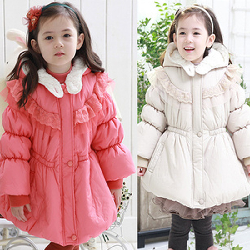 Free shipping- Free shipping Winter girl princess lace thickening lambs wool hat cotton coat children clothingОдежда и ак�е��уары<br><br><br>Aliexpress