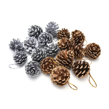 9PC New Year Tree Pine Cones Pinecone Hanging Ball Xmas Holiday Party Decor Ornament For Home Festival Supplies 2 Color