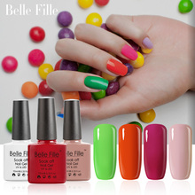 Belle Fille 10ml Nail Gel Polish 79 Colors Base Top Coat UV Gel Polish Soak Off UV LED Gels Professional Shining Lacquer(China)