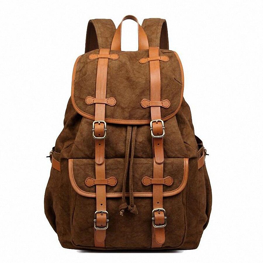 New Mens Canvas Backpack Vintage Shoulder Bag Canvas Bagpack Bookbag Rucksack Schoolbag  15 inch Laptop Travel Satchel LI-1628<br><br>Aliexpress