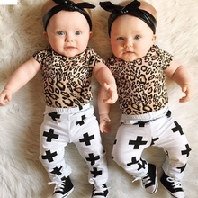 TELOTUNY children set children clothes boys clothes Letter Toddler Kids Baby Boys Leopard T shirt Tops Cross Pants Outfits oct(China)