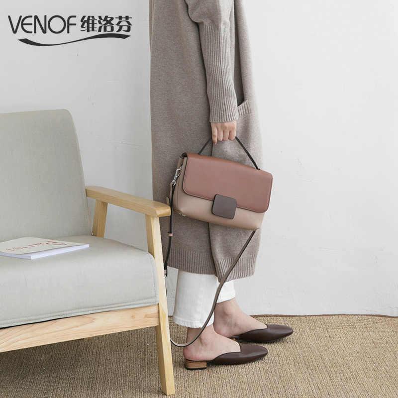 1401768c9b VENOF 2018 Vintage genuine Leather handbags for women contrast color  Shoulder crossbody Bags Luxury Handbags Women