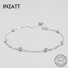INZATT Real 925 Sterling Silver Spacer Bead Chain Bracelet 미니 멀 Fine Jewelry 대 한 Women Birthday Party 액세서리 선물(China)