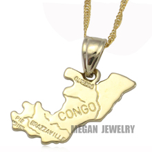 congo map pendant & necklace for women & men, country map Africa congo map jewelry