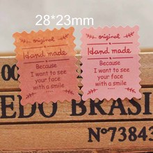 28*23mm stample pink gifts seal labels ripple shape handmade gifts package labels 100pcs custom cost extra(China)