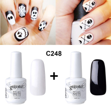Elite99 Gel Nail Polish 15ml Black White Color Gel UV Polish Soak Off LED Gel Lacquer for Halloween