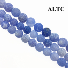Wholesale 4-14mm Natural Stone Beads Blue Frost Cracked Beads Dream Fire Dragon Veins Carnelian Agat Beads For Jewelry Making