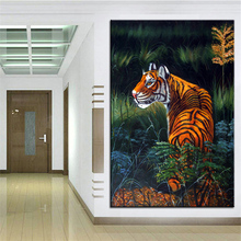 Wall Art, Wall Decor, Wall Painting The tiger in the grass Digital oil Painting Print, Nice Painting for wall picture no frame(China)