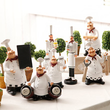 American country retro Creative Chef Figurine Set Resin Cook Statue window display Gift and Craft Knickknack Ornament Accessorie