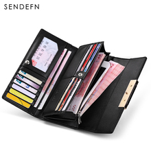 Hot Sale Fashion Split Leather Long Fashion Wallet Women Wallets Designer Brand Clutch Purse Lady Wallet Female Card Holder(China)