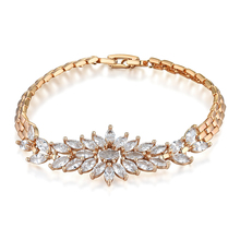 High Quality CZ Big Flower Charm Wedding Bracelet Elegant Style Gold Color Bridal Cubic Zirconia Bracelets Jewelry For Brides(China)