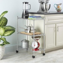 Homdox 3-Tier Metal Multifunctional Storage Shelving Rack for Kitchen Bedroom Bathroom Washroom Laundry