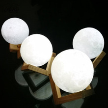 3D USB LED Magical Moon Light Moonlight With Base Table Desk Moon Lamp Birthday Valentines Gift 8CM 10CM 12CM 15CM 18CM(China)