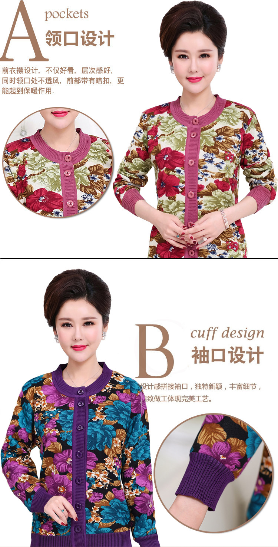 WAEOLSA Winter Woman Flower Cardigan Sweaters Middle Aged Women\`s Thicken Fleece Knitwear Lady Knied Cardigan Sweater Warm Top Mother (2)