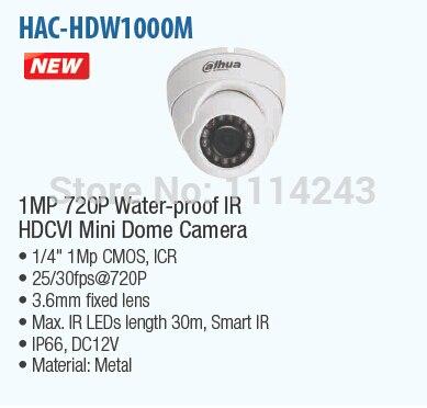 DAHUA 1MP 720P Waterproof IR HDCVI Mini Dome Camera IP67 with Fixed Lens Original English Version without Logo HAC-HDW1000M<br><br>Aliexpress