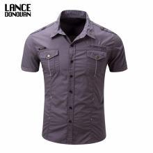 US SIZE S-3XL Solid Color 2017 Summer Fashion Men Short Sleeve Shirts Military Cago(China)