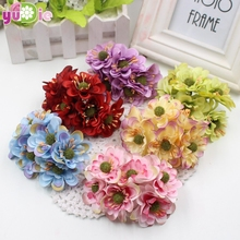 6pcs/lot 9colors Silk Cherry Blossoms Small Artificial Poppy Bouquet Wedding Decoration Mini Rose Flowers For DIY Scrapbooking