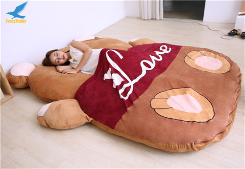 Fancytrader 2018 Giant Plush Stuffed Cartoon Love Bear Sofa Bed Sleeping Bed with Padding 2 Sizes (10)