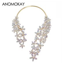 HOT European & American Fashion Chunky Gem Flower Choker Necklace Gold Color Single Shoulder Statement Necklace Ornaments