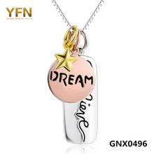 "18inches Genuine 925 Sterling Silver Jewelry Tri-Color Believe Dream Pendant Necklace with Box Chain 18"" GNX0496"