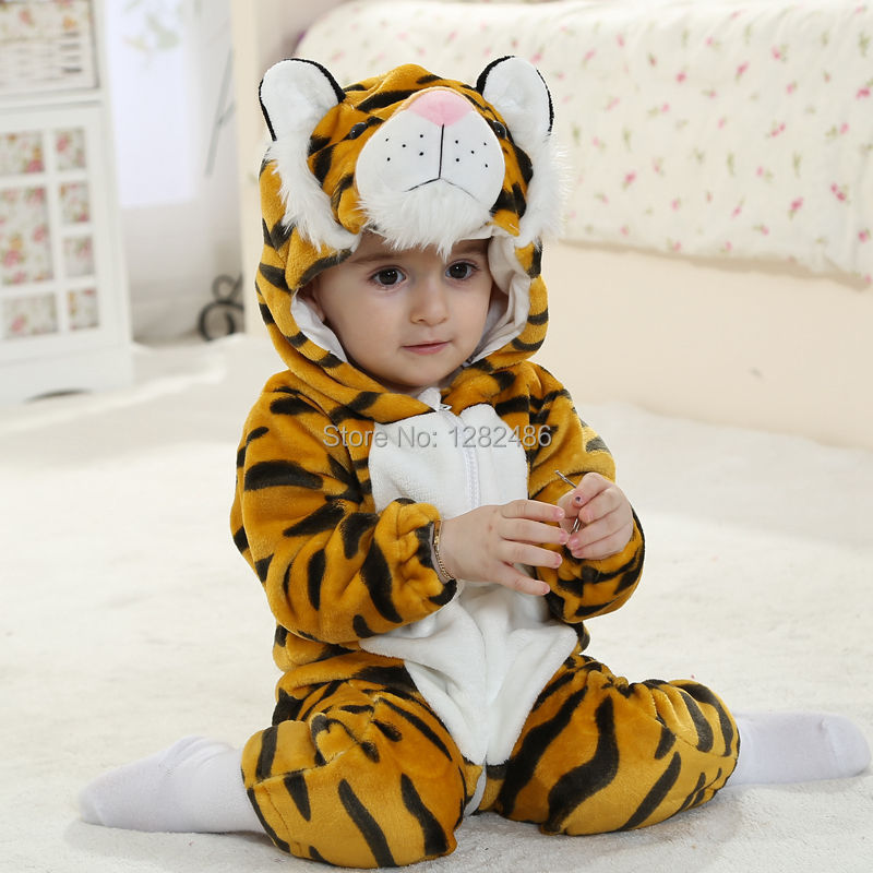 New Cute Tiger Style Baby Boys Rompers Baby Hooded Rompers Branded Baby Boy Clothes Long Sleeve Baby Romper Sets for 0-2 Yrs<br>