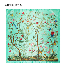 AOVKOVSA Bandana 2017 New Flowers and Birds Jungle Printing Women Silk Scarf Female Big Squares Scarves Shawl Drop Shipping