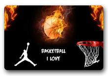 CHARMHOME Custom Fire Basketball Doormat Bedroom Cushion Red Basketball Goal Mat Bathroom Rugs