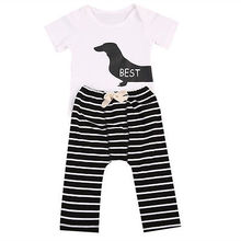 Best Friend Sister clothes New Infant Baby 2PCS Animal Romper+Striped Bottoms Toddler Boy Girl Outfit 0-24M