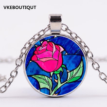 Hot! 2017 New 3/Color Beauty and The Beast Necklace Rose Flower Glass Pendant Art Pendant For Necklace